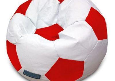 Puff Pelota de Futbol Blanco con Rojo