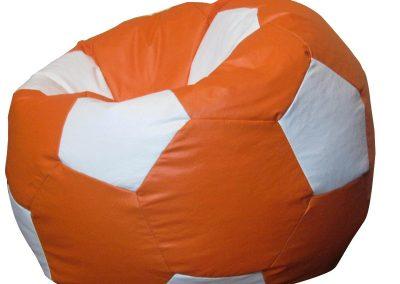 Puff Pelotas de Futbol Naranja con Blanco