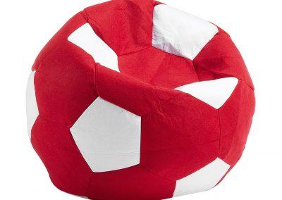 Puff Pelota Futbol Rojo con Blanco